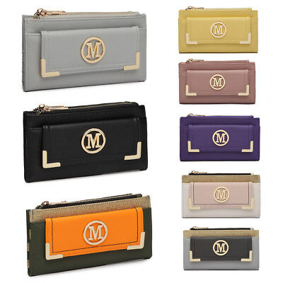 Ladies Designer PU Leather Purse Card Package Metal Money Clutch Wallet • 6.99£