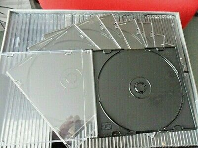 Empty Clear Front, Black Tray Slimline 5 Mm Spine CD / DVD Cases Pack Of 20  • 6£