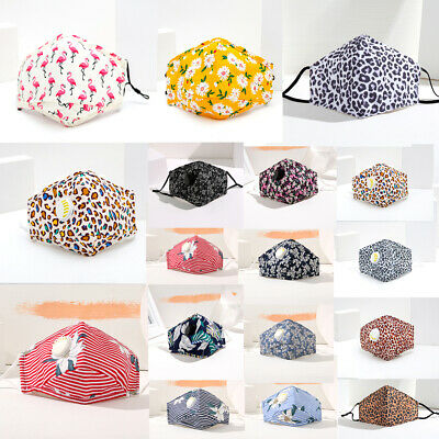 Ladies Floral Face Mask Washable UK Reusable Girl Leopard Dust Shield Protection • 3.95£
