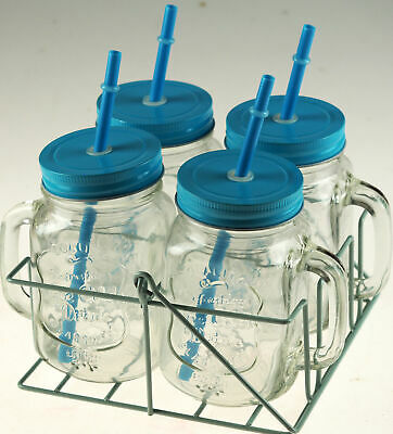 Set Of 4 Blue Mason Jars Drinking Cups With Lid And Straw In Carry Case Holder • 12.99£