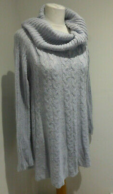 Phase Eight Slouchy Pale Blue Chunky Cable Knit Long Jumper 12 VGC • 20£