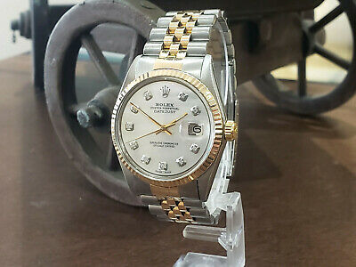 $ CDN7380.37 • Buy Mens Vintage ROLEX Oyster Perpetual Datejust 36mm White MOP DIAMOND Dial Watch