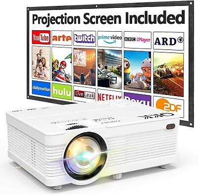 $ CDN212.11 • Buy QKK AK-81 Projector With Projection Screen 1080P Full HD Supported, Mini