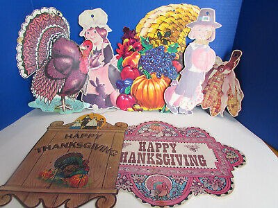 $ CDN20.35 • Buy Vintage Die Cut Lot 7 Thanksgiving Decorations Turkey Pilgrims Holiday Beistle