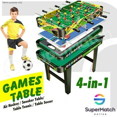 AU179.59 • Buy 4In1 Table Tennis Game Air Hockey Pool Football Soccer Snooker Toy For Kids Play