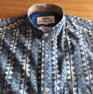 Mens Vintage Italian Denim Grandad  Shirt By Replay.      18   Collar. Xxl • 4.99£