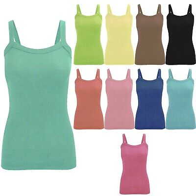 £2.99 • Buy Ladies Womens Summer Fitted Cotton Ribbed Round Neck Stretchy Vest Top Uk 8 - 18