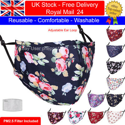 Adult Cotton Face Mask Washable Reusable Floral Designs With PM2.5 Filter Pocket • 3.99£