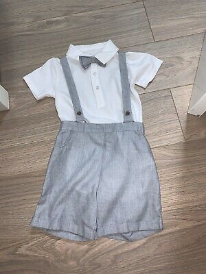 Matalan Baby Boy Grey And White Smart Outfit Dickie Bow 18-23 Months BNWT • 10£