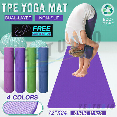 AU23.56 • Buy TPE Yoga Mat Non Slip Dual Layer Friendly Eco Exercise Fitness Gym Pilates NEW