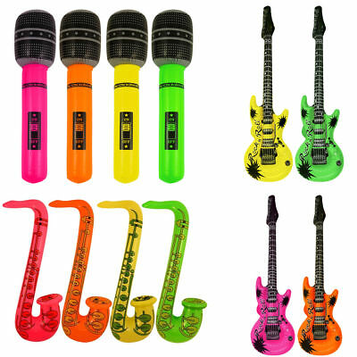 Inflatable Music Instruments Guitar/Microphone/SAXOPHONE COLOURFUL BLOW UP PART • 1.55£