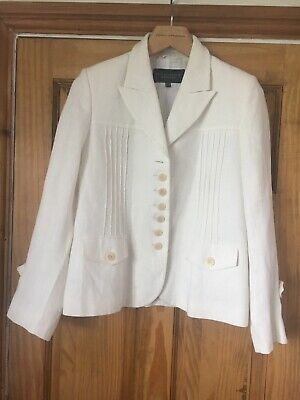 Paul Costelloe,  Dressage, Cream, Linen, Fully Lined,Fitted Trouser Suit Size 14 • 50£