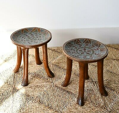 A Pair Of Mid 20th C African Kamba Kenya Carved Tribal Side Chair Table Stools  • 395£