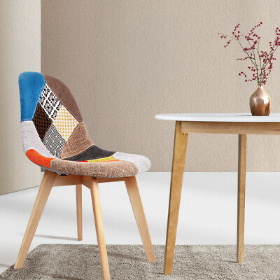 AU124.90 • Buy Artiss 2 Dining Chairs Retro Kitchen Cafe Wooden Patchwork Fabric Chair Set X2