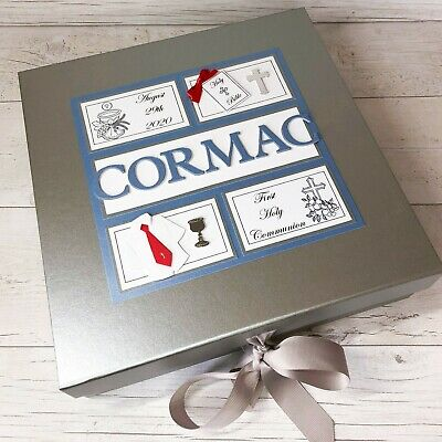 First Communion Gift KEEPSAKE BOX First Holy Communion Boys & Girls Personalised • 27.50£