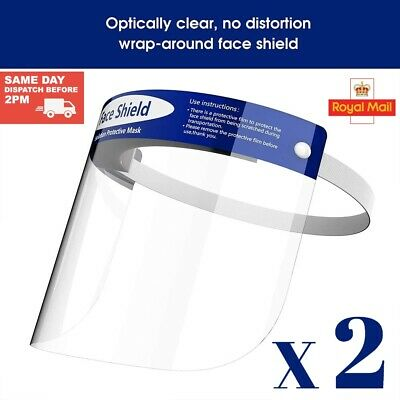 2 X Face Shield Full Face Visor Protection Mask PPE Shield Transparent Clear  • 4.99£