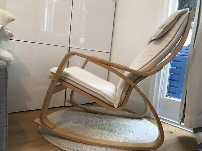 Ikea Poang Rocking Chair White Fabric Birch Veneer • 150£