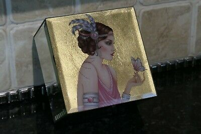 Mirrored Jewellery Box Gold Lid Picture Of Art Deco Woman Flapper Style 13cm  • 14.99£