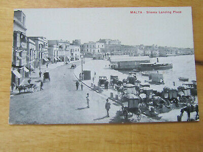 Malta Sliema Landing Place With Carriages Old Postcard • 2£