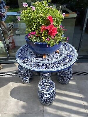 £575 • Buy Blue And White Glazed Pottery Garden Table And Stools