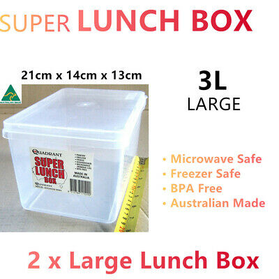 AU14.95 • Buy 2x Large Lunchbox Microwave Food Container 3L Freezer Storage Box Bento Meal