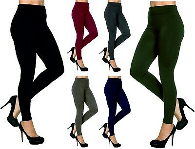 £4.95 • Buy Womens Leggings Ladies Lined Black Tummy Control Lined High Waist Size Girls NEW