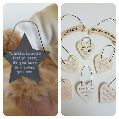 £0.99 • Buy Aching Arms, Small Wooden Heart/ribbon Sentiments Tag, East Of India, Baby Loss