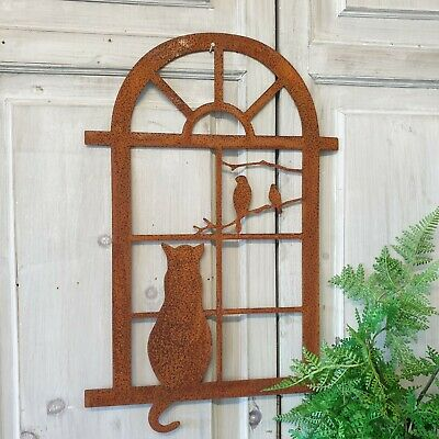 £18.99 • Buy Rustic Metal Cat At The Window Wall Art Garden Decoration Rusty Shabby Gift