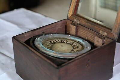 Antique Ships Compass In Its Own Box With Bevelled Glass Hinged Lid. • 129.99£