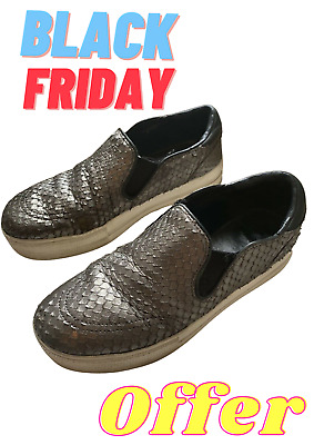 Ash Slip-ons Trainers Silver Snake Scales Effect Size EU40 • 15£