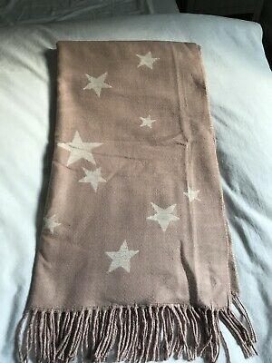 New Gap Pink Soft Scarf With Grey Stars • 14£