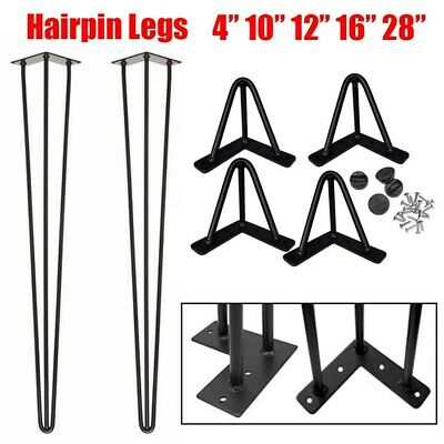 4X Hairpin Table Desk Bench Legs & Protector Feet Steel Metal 4 -28  UK Quality • 30.99£