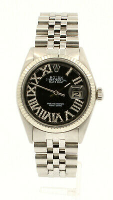 $ CDN6267.66 • Buy Mens ROLEX Oyster Perpetual Datejust 36mm Black Roman Dial Diamond Stainless
