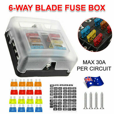 AU19.98 • Buy 23PC 6 Way Blade Fuse Box Block Holder Indicator LED Light 12V/32V Car Marine AU