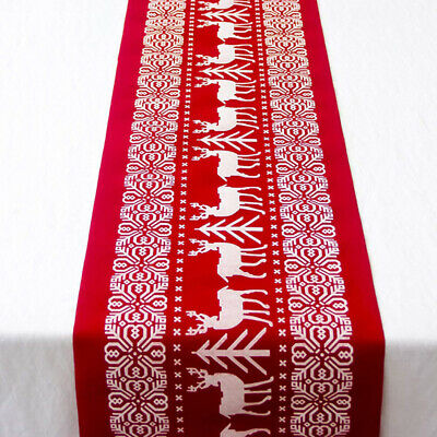 Christmas Dining Table Runner Cloth Xmas Festival Party Banquet Home Decor UK • 8.09£