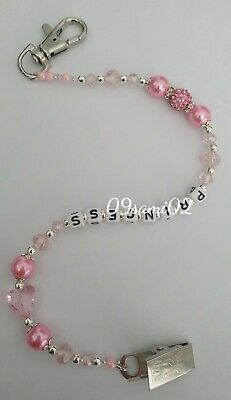 £5.50 • Buy Personalised Pink  ❤ Bling Dummy Clip, Pearl & Crystal ❤romany❤heart