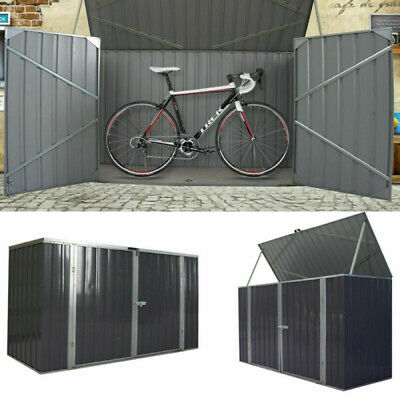 Galvanized Metal Large Storage Garden Shed Bike Unit Tools Bicycle Store New • 205.99£