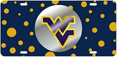 $ CDN30.17 • Buy WVU Mountaineers Mirrored Inlaid Polka Dot License Plate / Tag