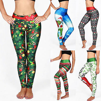 AU12.34 • Buy Womens Christmas Prints Pants Yoga Gym Sport Leggings Bottoms Xmas Long Trousers