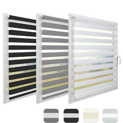 Day And Night Zebra/Vision Window Roller Blinds 3 Colours, 7 Sizes, 150cm Drop • 17.99£