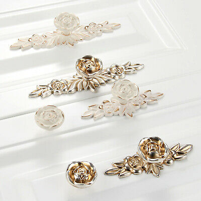 Elegant Rose Flower Cabinet Drawer Wardrobe Pulls Handles Cupboard Door Knobs • 2.58£