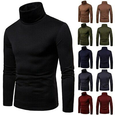 Mens Stretch Turtle Neck Polo Roll Shirt Long Sleeve Warm Jumper  Tops UK • 10.39£