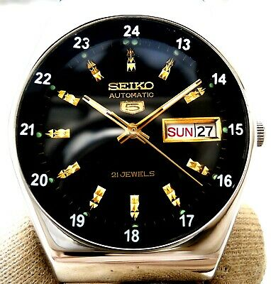 $ CDN77.24 • Buy Vintage Japan Seiko Automatic Black 24 Hours Railway Time Day Date Mens Watch..