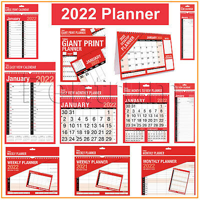 £3.99 • Buy 2022 Year Planner Calendar Month To View Slim Large Extra Large Desk View Diary