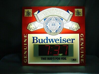 $ CDN136.43 • Buy Budweiser Beer Sign Advertising Electric Lighted Vintage Digital Clock 1980's
