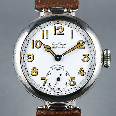 1920's Dunklings Trench Watch Large 40mm Case With Porcelain Dial Vintage • 1,099.50£