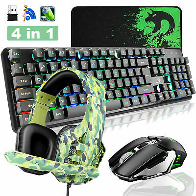 AU94.75 • Buy AU Gaming Keyboard Mouse And Headset Set Wireless Rainbow LED Backlit For PC PS4