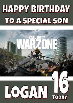 £2.75 • Buy Call Of Duty War Zone Personalised Birthday Card - Any Name, Age, Relation