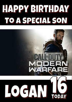 £2.75 • Buy Call Of Duty Modern Warfare Personalised Birthday Card - Any Name, Age, Relation
