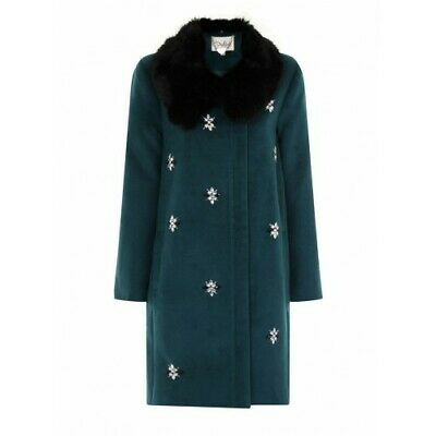 £39 • Buy Darling Scicily Teal Coat Jewelled Embellishment Front  RRP £129